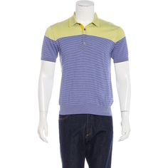 Pre-owned PS by Paul Smith Striped Polo Shirt ($45) ❤ liked on Polyvore featuring men's fashion, men's clothing, men's shirts, men's polos and blue