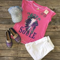 The perfect summer outfit! ❤️ #GyspySoule #BraveSoule #Tee $38.99 S&M #White #Denim #Shorts $29.99 S-L #TheSak #Ella #Flats $52.99 6-10 #PinkPanache #Earrings $39.99 #Rhinestone #Hat $14.99 O/S We #ship! Call us today! 903.322.4316 #shopdcs #instashop #in