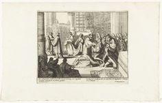 Pieter Pickaert | Willem III wordt als koning van Engeland gezalft, 1689, Pieter Pickaert, Adriaen Schoonebeek, 1689 | Willem III wordt knielend tot de nieuwe koning van Engeland gezalft, 21 april 1689. Onderdeel van de serie 'Engelants schouwtoneel' over de Glorious Revolution 1688-1689 (tweede deel). Met onderschriften in het Nederlands en Frans.