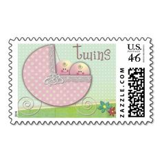 Twins Baby carriage polka dot Baby Shower Postage