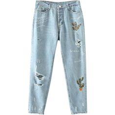 Cereus Embroidered Ripped Jeans Light Blue (220 SEK) ❤ liked on Polyvore featuring jeans, torn jeans, destroyed jeans, distressing jeans, destructed jeans and destruction jeans