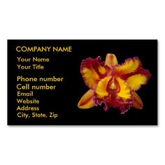 Yellow and Red Orchid Business Cards by birdersue from Zazzle -Digital photography by Sue Melvin