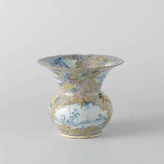 Anonymous | Spittoon, Anonymous, c. 1750 - c. 1780 | Kwispedoor van faïence. Veelkleurig beschilderd met daar tussen medaillons met landschappen in blauw.