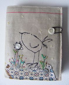 Handmade screen printed Needlecase Birdy in hand by hensteeth, $38.00