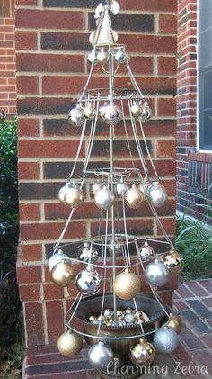 Lampshade Christmas Tree decorated differently this could look pretty cool