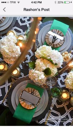 The interior of my condo is gray and black. I prefer dark spaces. When a few friends hinted around the fac. Shower Party, Table Settings, Invitations, Entertaining, Table Decorations, Dinner, Interior, Green, Beautiful