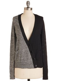Duo it Right Cardigan - Mid-length, Knit, Black, Grey, Solid, Buttons, Pockets, Casual, Colorblocking, Long Sleeve, V Neck