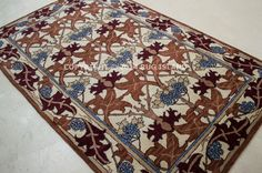 William Morris Arts Crafts Mission Style Rust Wool Area Rug | eBay