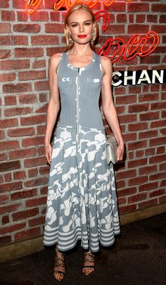 Kate Bosworth in a gray printed Chanel dress