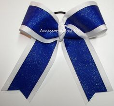 Items similar to Blue Cheer Bow, Royal Big Cheer Bow, Glitter Royal Blue White 6 Inch Cheer Barrette, Blue Volleyball Bow, Royal Blue Softball Team Color Bow on Etsy