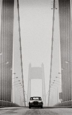 Rolls Royce on Tancarville Bridge, France, 1969 by Patrick Lichfield - Black White Photos, Black And White Photography, Led, The Good Old Days, Rolls Royce, Golden Gate Bridge, Find Image, We Heart It, Nostalgia