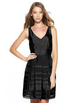 TAYLOR Sleeveless V-Neck Striped Party Dress