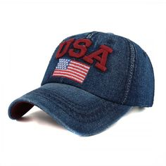 Red USA Embroidered Jeans Denim Baseball cap Hat Embroidery 9c4c8b847e6