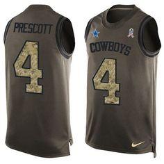 Nike Cowboys #4 Dak Prescott Green Men's Stitched NFL Limited Salute To Service Tank Top Jersey