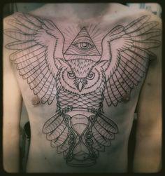 Chest Tattoo #Hourglass Tattoo #Owl Chest Piece #Owl Tattoo #Tattoo # ...