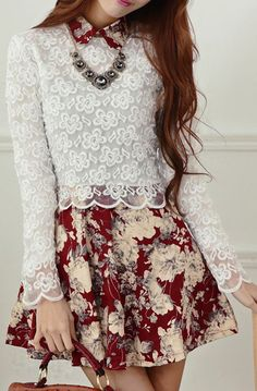 Floral printed dress with lace top