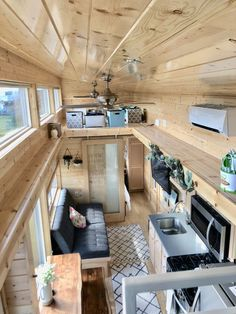 TravelerXL 30 Tiny House - RVIA Certified - Tiny House for Sale in Waldport, Oregon - Tiny House Listings Tyni House, Tiny House Cabin, Tiny House Plans, Tiny House Village, Two Bedroom Tiny House, Off Grid Tiny House, Building A Tiny House, House Stairs, Bedroom Loft