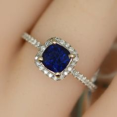 1.215 carat sapphire white gold diamonds halo by ReneJewelry
