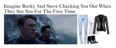 """Imagine Bucky And Steve Checking You Out When They See You For The First Time"" by alyssaclair-winchester ❤ liked on Polyvore featuring American Eagle Outfitters, Nly Shoes and Balmain"