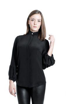 Women Shirt Silk Long Sleeves Black Batwing Blouses