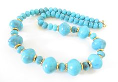 Chunky Turquoise Painted  Beaded Necklace, Vintage Beaded Necklace, Big Retro