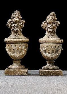 High Quality Pair Of Antique Milled Stone Garden Finials...perfect For The Garden Gates  At