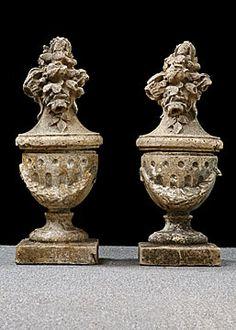 Pair Of Antique Milled Stone Garden Finials Garden Urns, Garden Gates,  Garden Tools,