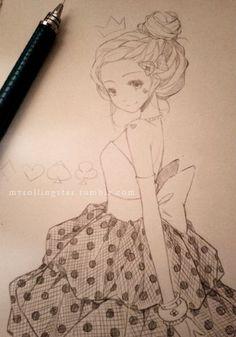 ✮ ANIME ART ✮ anime girl. . .dress. . .ruffles. . .bow. . .polka dots. . .hair. . .updo. . .bun. . .crown. . .poker suit. . .cute. . .drawing. . .pencil. . .graphite. . .doodle. . .kawaii