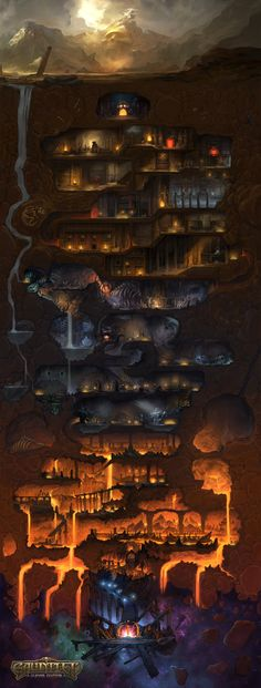 Gauntlet: Slayer Edition hub map by Lucas Örström How to Make your own DIY – Galaxy Art Fantasy City, Fantasy Kunst, Fantasy Places, Fantasy World Map, Dungeons And Dragons, Rpg Map, Dungeon Maps, Fantasy Setting, Illustration