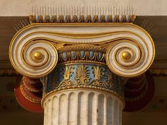 A close up view of a Greek Ionic column. Columns like these were very intricately designed, and a huge part of Greek architecture. Greece Architecture, Architecture Antique, Ancient Greek Architecture, Classical Architecture, Art And Architecture, Architecture Details, Ancient Greek Art, Ancient Greece, Ancient Rome