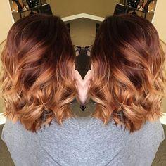 couleur de cheveux et balayage rouge miel