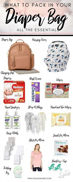 Wondering what to pack in your diaper bag? This is a complete list of diaper bag essentials for the first six months of baby& life. Great tips on what you actually need to pack in your diaper bag! Diaper Bag Checklist, Diaper Bag Essentials, Baby Checklist, Newborn Essentials, Newborn Necessities, Baby Massage, Baby Diaper Bags, Diaper Bag Backpack, Diaper Bag List