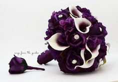Bridal Bouquet Real Touch Picasso Callas Purple Roses Rhinestones & Purple Hydrangea with Grooms Boutonniere