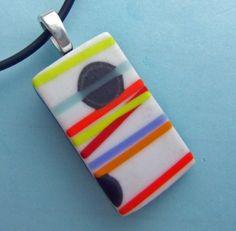 White Pick Up Stix  Pendant, Handmade Fused Glass Jewelry