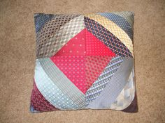 Bereavement Pillow for Mom made with Dad's ties. I can make a Keepsake Quilt for you. If you are interested send email to debbielan. Tie Crafts, Sewing Crafts, Sewing Projects, Necktie Quilt, Tie Pillows, Ribbon Quilt, Old Ties, Cute Cushions, Memory Pillows