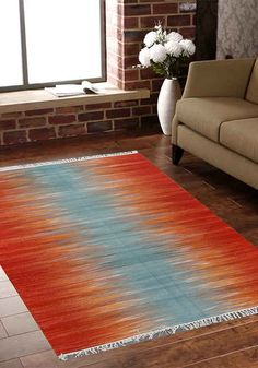 Rugsville Turkish Modern Orange Blue Flatweave Wool Rug Collection : Mazandaran Primary Color : Orange Style : Casual Material : Wool Shape : Rectangle Pattern : Stripe Secondary Color : Blue Weave Type : Flat Weave Rug Type : Indoor Origin : India Pile Height is approx. .50 to .75 Inch