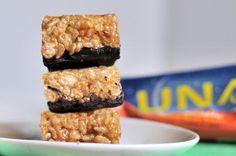 Homemade Luna Bars! 3 c rice crispies, 2 tsp vanilla, 1/2 c nut butter, 1/2 c agave, chocolate, protein powder + salt