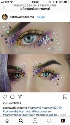 10 Glam und Glitter Make-Up Looks // - Makeup Ideen . - make-up - # 10 Glam und Glitter Make-Up Looks // - Makeup Ideen . - make-up - # Mermaid Eye Makeup, Mermaid Makeup Tutorial, Unicorn Makeup, Halloween Makeup Unicorn, Fairy Eye Makeup, Halloween Mermaid, Purple Fairy Makeup, Fairy Costume Makeup, Unicorn Eyes