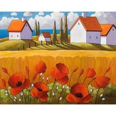 "Fine Art Print by Cathy Horvath 8 1/2""x11"" Modern Folk Red Poppy Flowers Yellow Field & Ocean Cottages Giclee Landscape Reproduction Artwork"