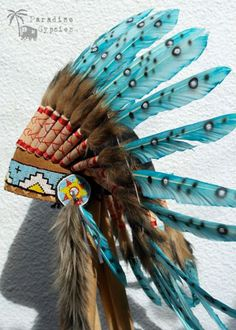 Turquoise Spotted Feather Headdress