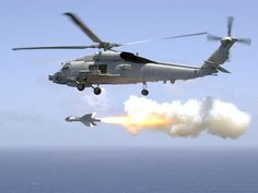 SH-60B Sea Hawk helicopter launches a Penguin