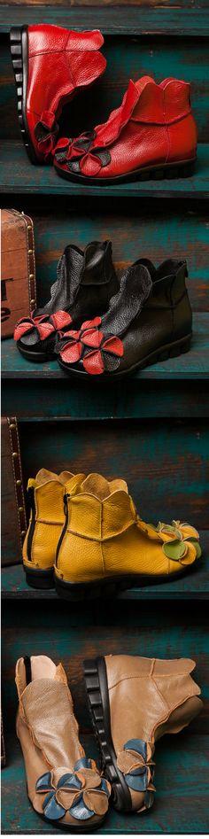 US$29.68 Socofy Flower Soft Leather Ankle Vintage Slip On Flat Boots