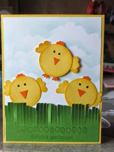 Stampin' with Steph: Easter. The chicks are made from the Circle, Itty Bitty Flower, Scallop Circle, and Owl Builder punches.