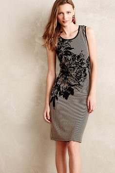 Ecru-Bloom Shift  #anthropologie (circle skirt dress with topped on applique lace flowers on waist seam blending up and down)