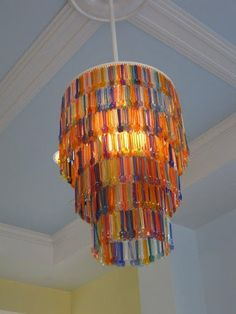 Recycle Those  Plastic Tasting Spoons! Chandelier at Paciugo, a gelato store  in Allen, Texas   #DIY #recycled #recycle #spoons