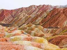 The Danxia Rainbow Mountains, located within the National Geopark of Zhangye in China.