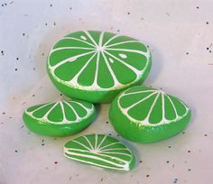 Lime Slices Hand painted on Rock Garden Painting, Pebble Painting, Love Painting, Painting For Kids, Garden Art, Painted Rocks Kids, Painted Pots, Painted Stones, Hand Painted