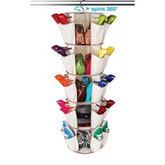Smart Carousel 5-Shelf Organizer.I have a few of these and they work GREAT for storing yarn and books. You can store 40 skeins of yarn in the pockets, and five shelves great for storing books or larger yarn skeins.