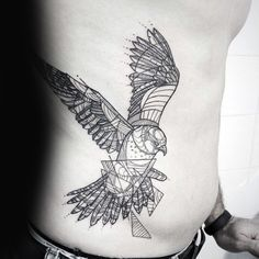 Abstract Guys Black Ink Lines Falcon Rib Cage Side Tattoo