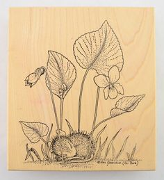 "Stamp Rosa House Mouse Collection - No. 02 Mouse Sleeping Under Flower, Wood Mounted Stamp, 1997, House Mouse Designs.  Wood Block Size: W: 4-1/4"" x H: 4-3/4""  Used stamp i... #scrapbook #stampede"